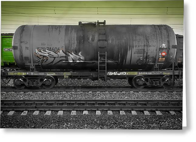 Industrial Concept Greeting Cards - Green Toxic Train Wagon Greeting Card by John Williams