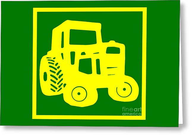 Green Design Greeting Cards - Green Tractor T-shirt Greeting Card by Edward Fielding