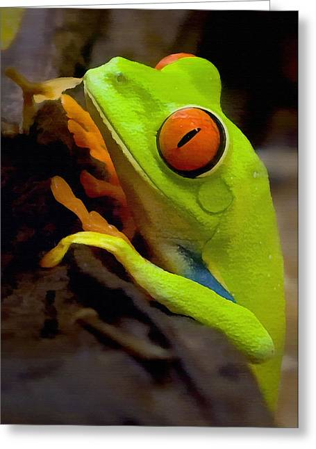 Frogs Greeting Cards - Green Tree Frog Greeting Card by Sharon Foster