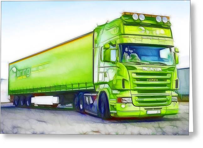 Green Truck Greeting Card by Lanjee Chee