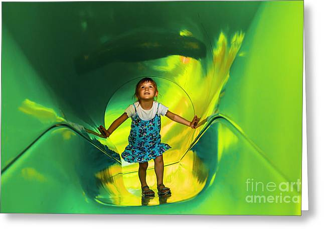 Concept Photographs Greeting Cards - Green Tunnel 1 Greeting Card by Maria Bobrova