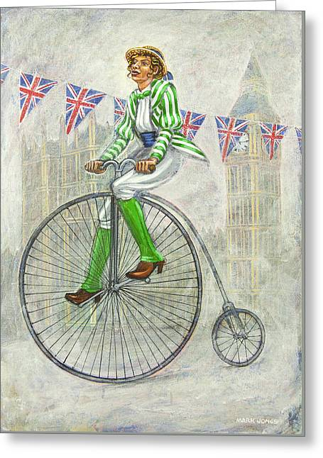 Mark Howard Jones Greeting Cards - Tweed Run Lady in Green pedalling past the Houses of Parliament Greeting Card by Mark Howard Jones