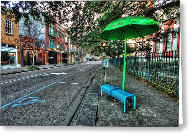 Green Umbrellas Greeting Cards - Green Umbrella Bus Stop Greeting Card by Michael Thomas