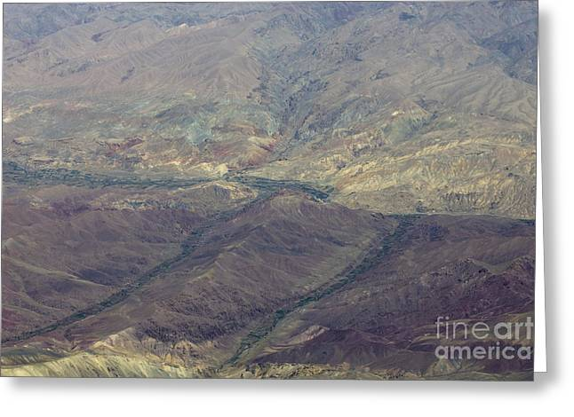 Errosion Greeting Cards - Green Valleys in Red Hills Greeting Card by Tim Grams
