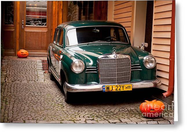 Green Vintage Mercedes Benz Car Greeting Card by Arletta Cwalina