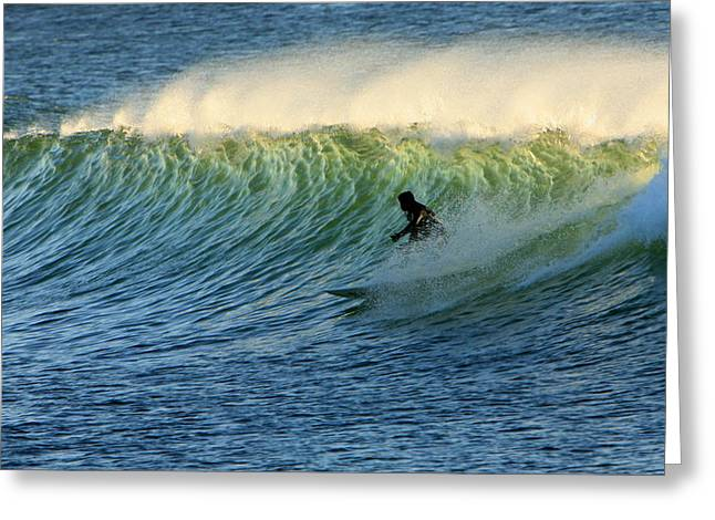 Green Wall Surfer Greeting Card by Mike Coverdale