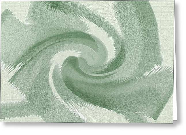 Abstract Waves Greeting Cards - Green Wave Greeting Card by Lenore Senior
