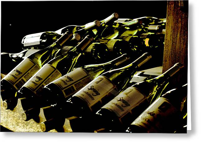 Keuka Greeting Cards - Green Wine Bottles Greeting Card by Alison Squiers