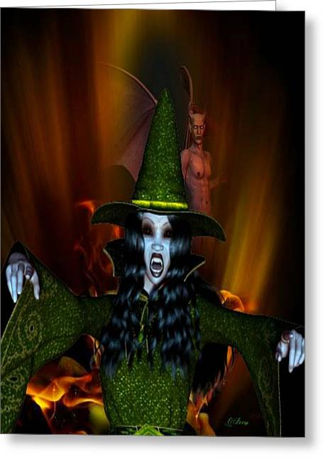 Devils Den Greeting Cards - Green Witch Envy Greeting Card by G Berry