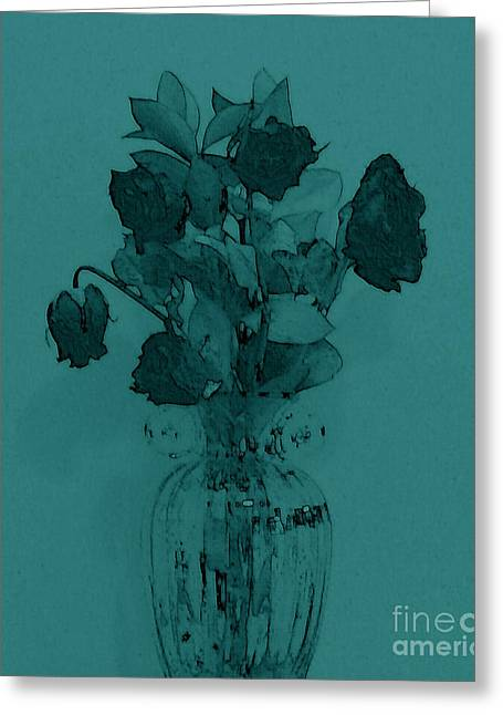 Green With Envy For Her Roses Greeting Card by Marsha Heiken