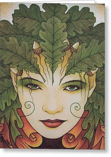 Druidic Greeting Cards - Green Woman Greeting Card by Yuri Leitch