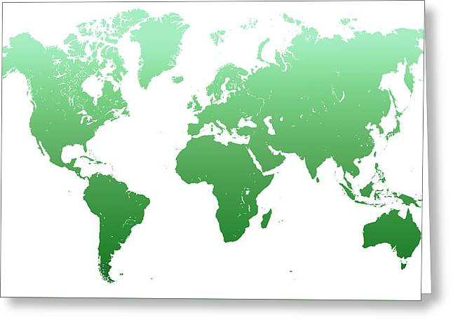Green World Map Greeting Card by Jenny Rainbow