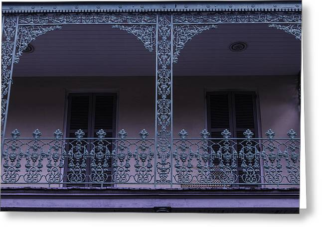 Nola Photographs Greeting Cards - Green Wrought Iron Rails Greeting Card by Garry Gay