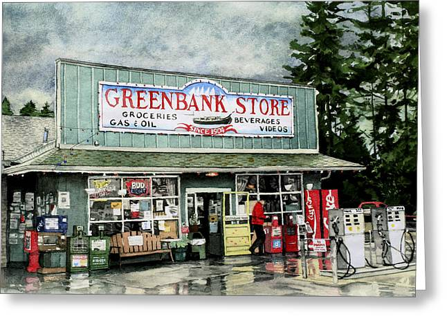 Grocery Store Greeting Cards - Greenbank Store Greeting Card by Perry Woodfin
