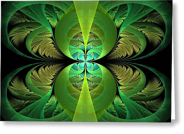 Surreal Geometric Greeting Cards - Greenery Greeting Card by Lyle Hatch