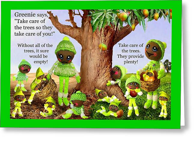 Tree Huggers Greeting Cards - Greenie Poster 1 Greeting Card by Caroline Czelatko