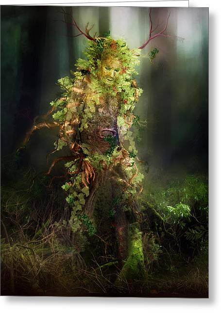 Tree Bark Greeting Cards - Greenman Greeting Card by Karen K