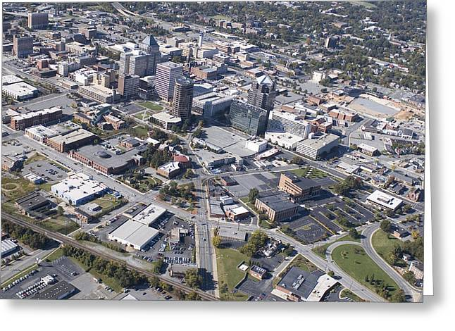 Triad Greeting Cards - Greensboro Aerial Greeting Card by Robert Ponzoni