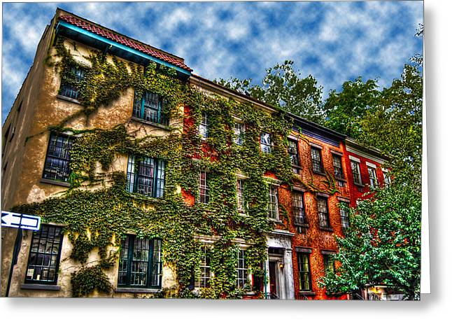 Townhouses Greeting Cards - Greenwich Village Ivy Greeting Card by Randy Aveille