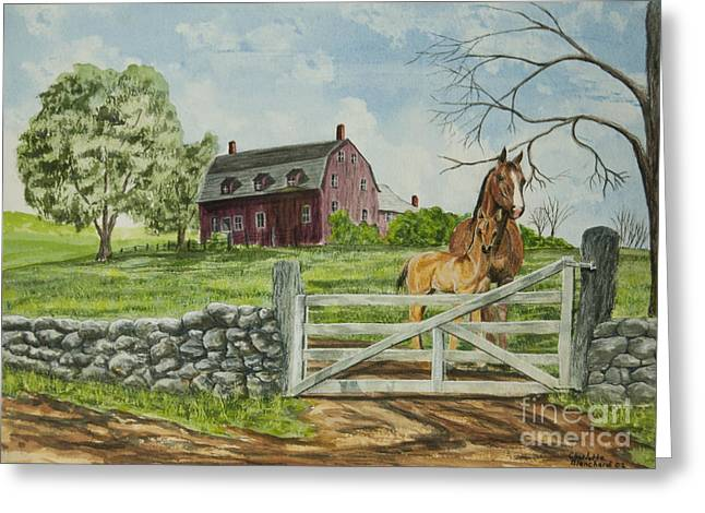 Stone Fence Greeting Cards - Greeting At The Gate Greeting Card by Charlotte Blanchard