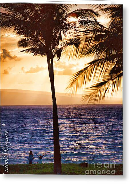Lahaina Greeting Cards - Greeting the Sunset Greeting Card by  rdm-Margaux Dreamations