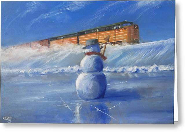 Snowman. Greeting Cards - Greetings Greeting Card by Christopher Jenkins