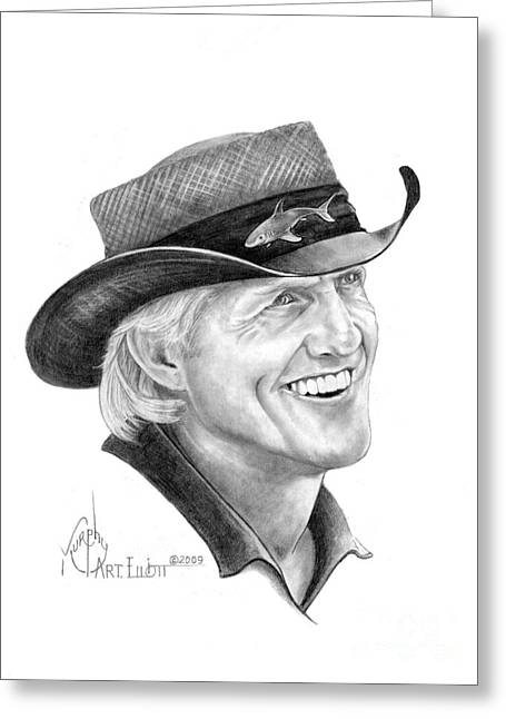 Norman Drawings Greeting Cards - Greg Norman Greeting Card by Murphy Elliott