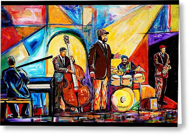 Speeches Mixed Media Greeting Cards - Gregory Porter and Band Greeting Card by Everett Spruill