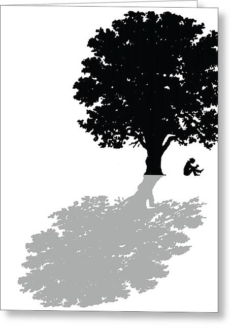 Oak Tree Paintings Greeting Cards - Gregorys thoughts lead him to question the very nature of his existence Greeting Card by Mike Swift