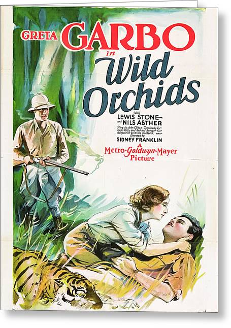 Greta Garbo In Wild Orchids 1929 Greeting Card by Mountain Dreams