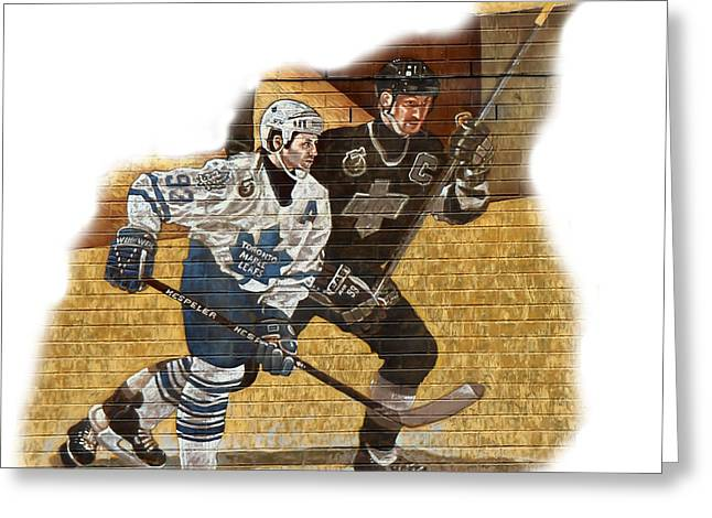 Wayne Gretzky Greeting Cards - Gretzky and Gilmour Greeting Card by Andrew Fare