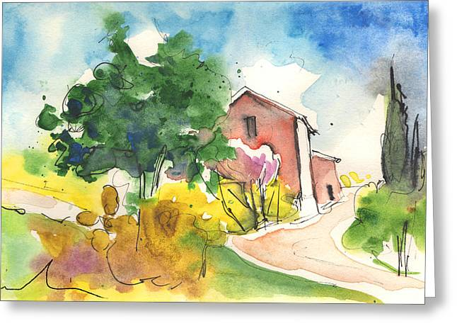 Chianti Drawings Greeting Cards - Greve in Chianti in Italy 01 Greeting Card by Miki De Goodaboom