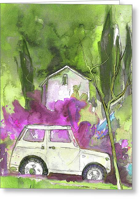 Chianti Drawings Greeting Cards - Greve in Chianti in Italy 02 Greeting Card by Miki De Goodaboom