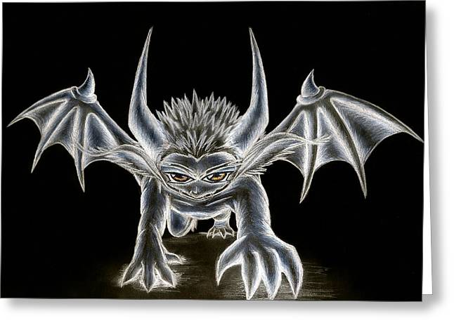 Demon Ears Greeting Cards - Grevil Pastel Greeting Card by Shawn Dall