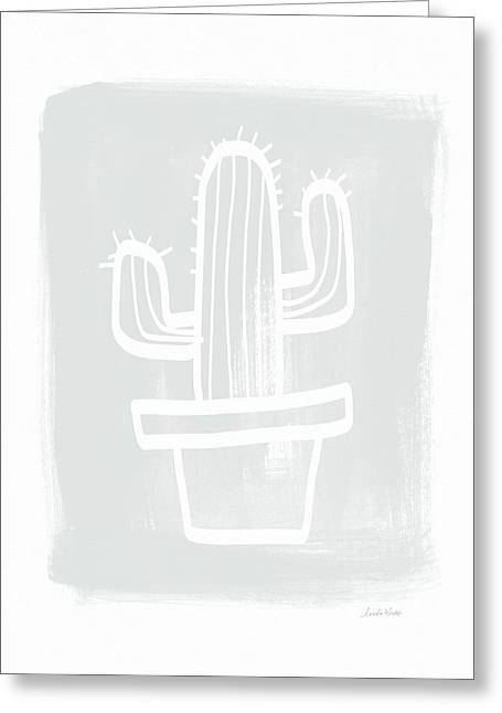Grey And White Cactus- Art By Linda Woods Greeting Card by Linda Woods