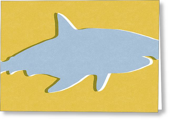 Grey And Yellow Shark Greeting Card by Linda Woods