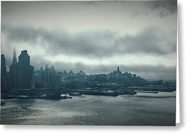 San Francisco Bay Greeting Cards - Grey Day in the Bay Greeting Card by Nimmi Solomon