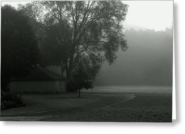 Outbuildings Greeting Cards - Grey Farm Mist Morn Greeting Card by Wild Thing