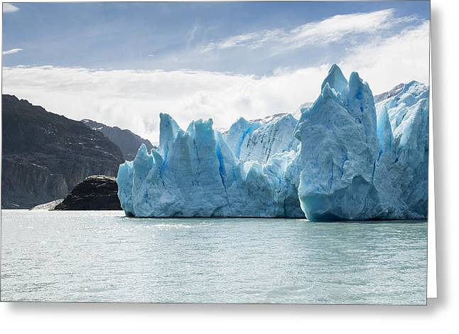 Grey Clouds Greeting Cards - Grey Glacier And Grey Lake, Torres Del Greeting Card by Keith Levit