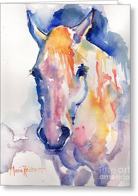 Gray Horse Greeting Cards - Grey Horse Watercolor Be Uncommon Greeting Card by Maria