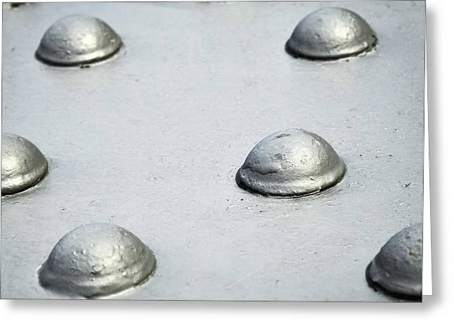 Industrial Background Greeting Cards - Grey steel rivets Greeting Card by Jozef Jankola
