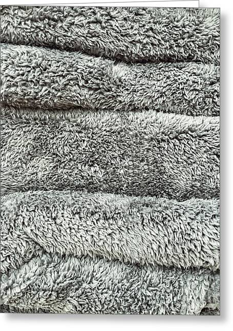 Grey Towels Background  Greeting Card by Tom Gowanlock