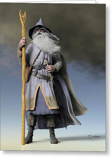Lord Sculptures Greeting Cards - Grey Wizard Greeting Card by Dave Luebbert