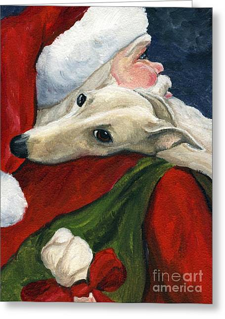 Greyhound Greeting Cards - Greyhound and Santa Greeting Card by Charlotte Yealey