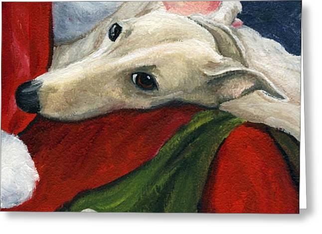 Greyhound and Santa Greeting Card by Charlotte Yealey