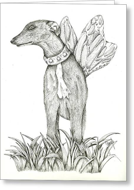 Greyhound Dog Drawings Greeting Cards - Greyhound Butterfly Greeting Card by Jeecs Art  By Sharife Gacel