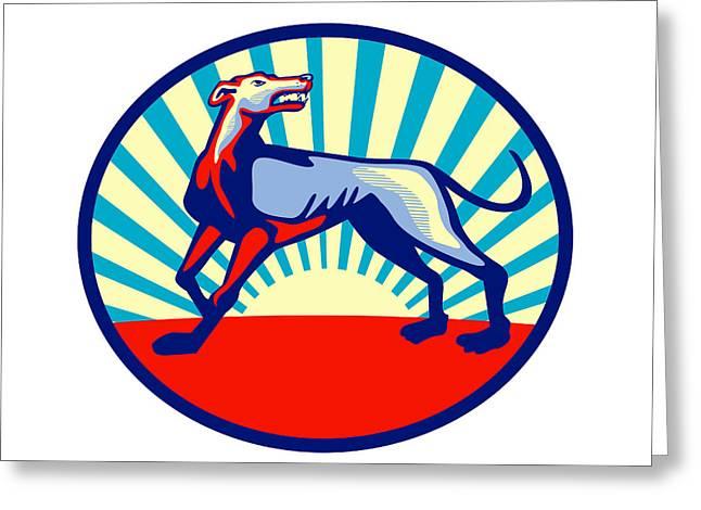 Greyhound Dog Digital Greeting Cards - Greyhound Dog Angry Looking Up Circle Retro Greeting Card by Aloysius Patrimonio