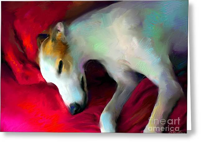 Sleeping Dogs Greeting Cards - Greyhound Dog portrait  Greeting Card by Svetlana Novikova