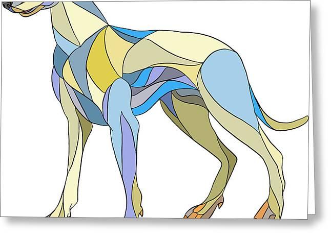 Greyhound Dog Side Mosaic Greeting Card by Aloysius Patrimonio