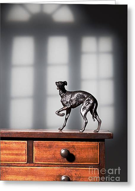 Greyhound Figure In Bronze Greeting Card by Amanda And Christopher Elwell